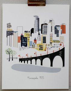 Print of the Minneapolis Skyline. Do you recognize it? Illustrations, Illustration Art, Minnesota, Minneapolis Skyline, Web Design, Graphic Design, Framed Prints, Art Prints, Wall Art