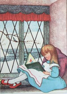 Girl reading on a snowy day. © Gyo Fujikawa (Author/Artist. USA, 1908-1998).  Fujikawa is recognized for being the earliest mainstream illustrator of picture books to include children of many races in her work, before it was politically correct to do so. per wiki. My kind of lady!