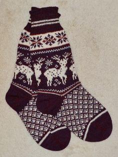 """Norwegian Scandinavian Hand Crafted 100% wool SOCKS, Large 10"""" , folk art, REINDEER, Fair Isle"""