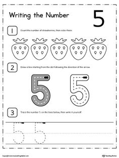 **FREE** Learn to Count and Write Number 5 Worksheet. Teach your child how to count and write numbers. Practice counting and writting number 5.
