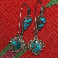 """Bisbee Turquoise Earrings - posted as """"Early Fred Harvey """" but look like 70's era."""