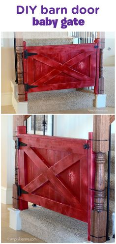 What do you mean a giant plastic baby gate wasn't on your list of dream home decor items? Keep your baby safe and crawling on the main floor with this DIY barn door baby gate—it is rustic and stylish and works like a charm! Recruit your hubby to help you (and by help, we mean construct, paint, and assemble) to replace those plastic monstrosities with something a little more … shall we say, chic?