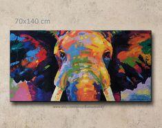 ÜBER DAS PRODUKT ** Dieser Artikel ausdrückliche Lieferzeit dauert 7-10 Tage ** Bunte abstrakte Elefant Acryl auf Leinwand-Wand-Dekor des Künstlers Sumaree Nunsang aus Thailand. Das Bild nicht fertig zum Aufhängen, es ist kein Rahmen. Dies ist von Hand bemalt, kein Druck. Die Bilder wurden