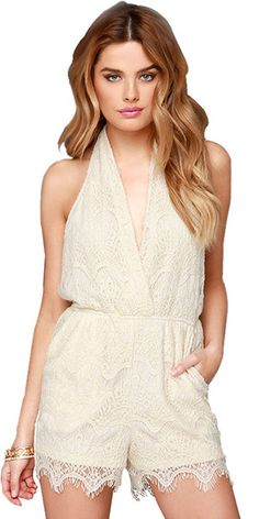 Sexy Backless Deep V-neck Lace-up Halter Lace Jumpsuits