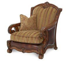 Michael Amini Tuscano 34934-OLIVE-26 Wood Trim Leather / Fabric Chair