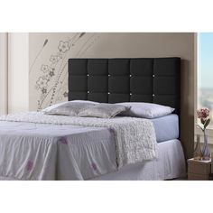 Baxton Studio Bordeaux Contemporary Full/ Queen-size Black Faux... ($117) ❤ liked on Polyvore featuring home, furniture, beds, black, crystal tufted bed, black queen headboard, tufted queen bed, tufted bed and queen bed