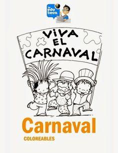 """El cuadernillo de coloreables """"Viva el carnaval"""", publicado por """"Educateca"""", proporciona, a través de los dibujos y los colores, la oportunidad a los más pequeños de entrar en el mundo del carnaval."""