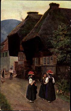 Künstler Ak Hoffmann, H., Schwarzwälder Trachten, Dorfidylle im Schwarzwald
