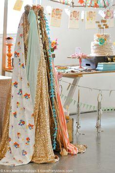Boho bridal shower | wedding via Kara Allen, Kara's Party Ideas | KarasPartyIdeas.com Awesome bohemian, tribal, aztec, teepee, and rustic accents! Gorgeous dessert table!