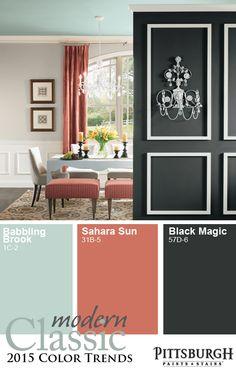 Modern Classic 2015 Paint Color Trend: Blending Soft Neutrals with Clean Colors.