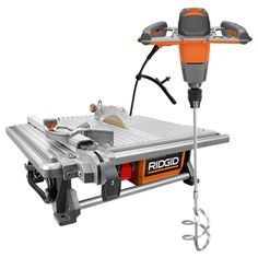 This RIDGID Corded Table Top Wet Tile Saw with Single-Paddle Mixer keeps your work area dry by reducing splash output. Roll Cage Design for durability. Stone Deck, Rip Cut, Decking Material, Circular Saw Blades, Tile Saw, Roll Cage, Recycling Programs, Extruded Aluminum, Construction Materials