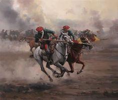 Ataque de los Lanceros Carlistas, obra de Augusto Ferrer-Dalmau