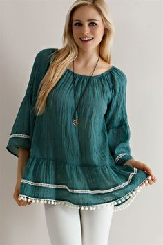 Solid Guise Ruffled Peasant Blouse