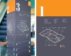 Wayfinding and signage system for a Russian shopping center Map Signage, Library Signage, Directional Signage, Wayfinding Signs, Signage Design, Map Design, Environmental Graphic Design, Environmental Graphics, Hospital Signage