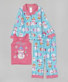 Loving this Blue & Pink Snowman 'Chill Out' Pajama Set - Girls on #zulily! #zulilyfinds
