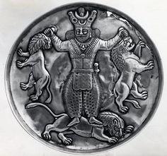 بشقاب عهد ساسانیان  Silver dish shows Sassanid king fighting with lions  British Museum