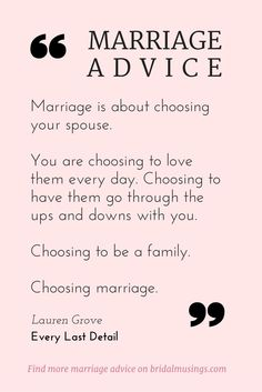 Quotes About Love – My Number One Piece of Marriage Advice Quotes About Love Description Marriage is a choice. Beautiful advice from Lauren Grove of Every Last Detail® Read more tips for a happy. Marriage Relationship, Marriage Tips, Love And Marriage, Quotes Marriage, Marriage Thoughts, Healthy Marriage, Strong Marriage, Marriage Prayer, Beautiful Marriage Quotes