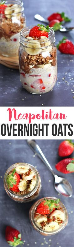 Put a fun twist on your breakfast with these Neapolitan Overnight Oats! They're sweet, easy to make, and a healthy alternative to the ice cream flavor. It's a breakfast win! Breakfast And Brunch, Healthy Breakfast Options, Healthy Breakfast Recipes, Brunch Recipes, Vegan Recipes, Cooking Recipes, Breakfast Ideas, Healthy Soups, Freezer Recipes