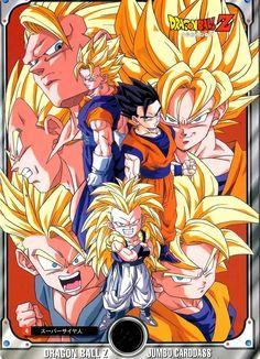 Vegeta, Goku, Goten, Trunks, Gohan, Vegito, and Gotenks