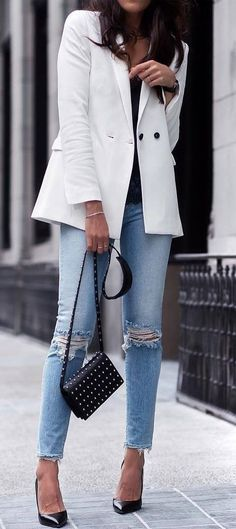 cute office style | white blazer + bag + ripped jeans + heels