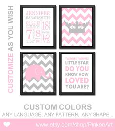 baby girl birth stats baby birth details new baby decor baby announcement wall art birth date print pink gray chevron elephant new baby gift on Etsy, $29.00
