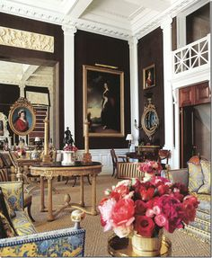 Carolyne Roehm ~ view looking towards the entry of her NYC living room with the balcony over it.