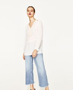ZARA - WOMAN - FLOWING BLOUSE WITH BIB FRONT