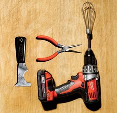 Cook and clean with a cordless drill:  WHISK! For extra fluffy scrambled eggs, insert a whisk attachment into the drill and start beating.  GRIND! Unscrew the knob from the top of a pepper mill, exposing the drive shaft, and tighten the shaft into your drill