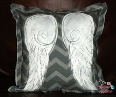 Angel Wings Painted Pillow Chevron Pillow Grey by AmandaHilburnART, $30.00