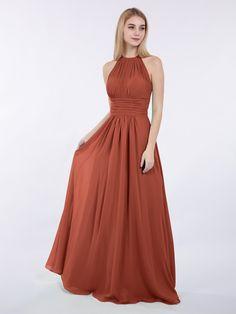 003848686f Babaroni Doris Halter Chiffon Maxi Dress of Bridesmaid Chiffon Maxi Dress
