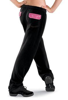 Rhinestone Pocket Black Sweatpants; Urban Groove