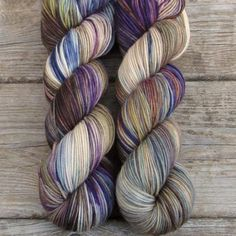 Cream, tan, and brown provide a background for flashes of purple, blue, olive, and rust...#missbabs #prettyyarn #knittingyarn