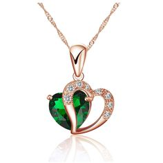 ROSE GOLD GREEN HEART Valentines Day Present Gift Free Shipping PENDANT NECKLACE   eBay
