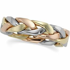 45mm 14kt TriGold Hand Woven Ring by createyourring on Etsy, $449.00