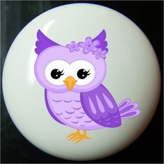 Decorative knobs are a great way to change the look of you cabinets or drawers. Can be cleaned with damp cloth. Purple Owl, Owl Nursery, Decorative Knobs, Ceramic Knobs, Cabinet Knobs, White Ceramics, Craft Projects, Drawers, Washers