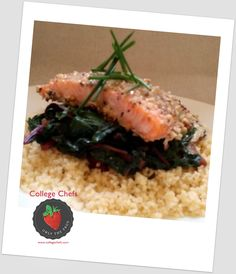 Hazelnut-crusted salmon topped with an orange thyme beurre blanc, braised red chard, shiitake and fresh herb Morrocan couscous.  Compliments of Sous Chef Robert for the ladies of Kappa Delta at the University of Oregon. #WeFeedtheGreek #KappaDelta #RidiculouslyGoodFood