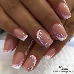 French Manicure Acrylic Nails, Pink Acrylic Nails, Nail Manicure, Toe Nails, Fancy Nails Designs, Nail Tip Designs, Acrylic Nail Designs, Chic Nails, Stylish Nails