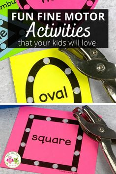 Kids love these hole punch activities. Use the printables to build fine motor skills, for hand strengthening, and to improve hand-eye coordination in a fun and exciting way. Perfect for your preschool, pre-k, kindergarten, special education, occupational therapy classroom, or at home. The printables include shapes and many themes and seasonal printables to use during spring, summer, winter, and fall. Fun Math Activities, Hands On Activities, Early Learning, Fun Learning, Kids Punch, Teaching Shapes, Interactive Learning, Building For Kids, Early Literacy