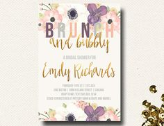 Fall Bridal Shower Invitation Brunch Champagne Bubbly Floral Gold Eggplant Purple on Etsy, $16.00