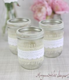 Mason Jar Wedding Centerpieces Vases with Burlap and Lace Rustic Country Wedding Decorations SET OF 12 (Item Number 130101). $96.00, via Etsy.