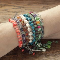 Paracord bracelet with gemstones for women