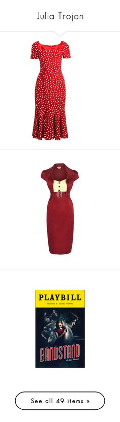 """Julia Trojan"" by rebellious-ingenue ❤ liked on Polyvore featuring dresses, red multi, spotty dress, dot dress, red short sleeve dress, short-sleeve dresses, suede dresses, red dot dress, vintage day dress and fish tail dress"