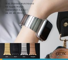 Stainless Steel Watch Band for Apple Watch Single Bead Loop Strap with Butterfly Buckle Apple Watch Accessories, 316l Stainless Steel, Watch Bands, Exotic, Butterfly, Watches, Beads, Beading, Wristwatches