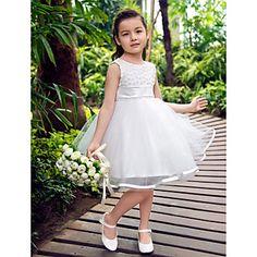 Nice Sleeveless Tulle And Satin Wedding/Evening Flower Girl Dress – GBP £ 26.41
