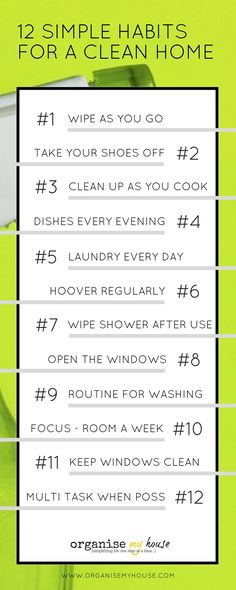 12 really simple habits to try if you want a clean home. These are the habits that people use to ensure they have a clean home at all times - with ease. Find out the tricks right here! Good habits / habits for a clean home / cleaning habits / home making habits / housekeeping habits