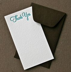 Thank You Letterpress Enclosure Card by greengrasspress on Etsy, $2.00