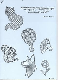 Renda de bilros Animais