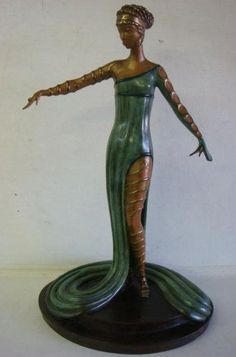 "ERTE ""Le Marveilleuse"" Limit Edition Bronze Sculpture: Signed on Base, Numbered 70/250, RKP Int. Corp. 1980. Lady in Flowing Green Gown on Stepped Bronze Base, 15 1/2"" x 7 1/2"" x 9 3/4"" Under Base is Marked 1/039 #1. The Marveilleuse were the Fashion Setters of Imperial French Society under Napoleon, Josephine was the Leader in Setting Fashion Trends and Morality. (1500-2500)"