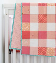Coral quilt, backed in minky with a pop of teal binding. You can see a peek of the matching crib sheet She made with her Dixie fabric Nancy Zieman, Easy Quilts, Small Quilts, Gingham Quilt, Charm Square Quilt, Cluck Cluck Sew, Girls Quilts, Kid Quilts, Scrappy Quilts