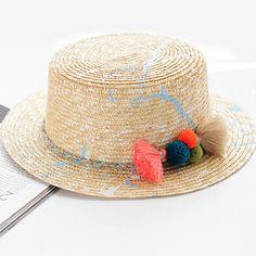 Summer straw sun hat for women fashions colorful tassel sun hat 0b4702937cc